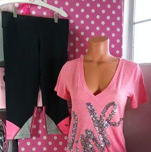 PINK Victoria's Secret Bling Vneck & Leggings